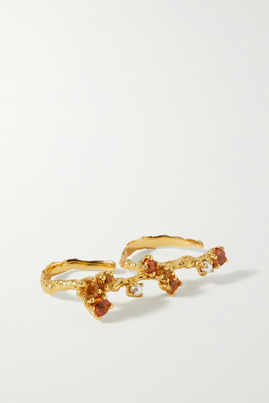 Pacharee Bloom 镀金多种宝石双指戒指