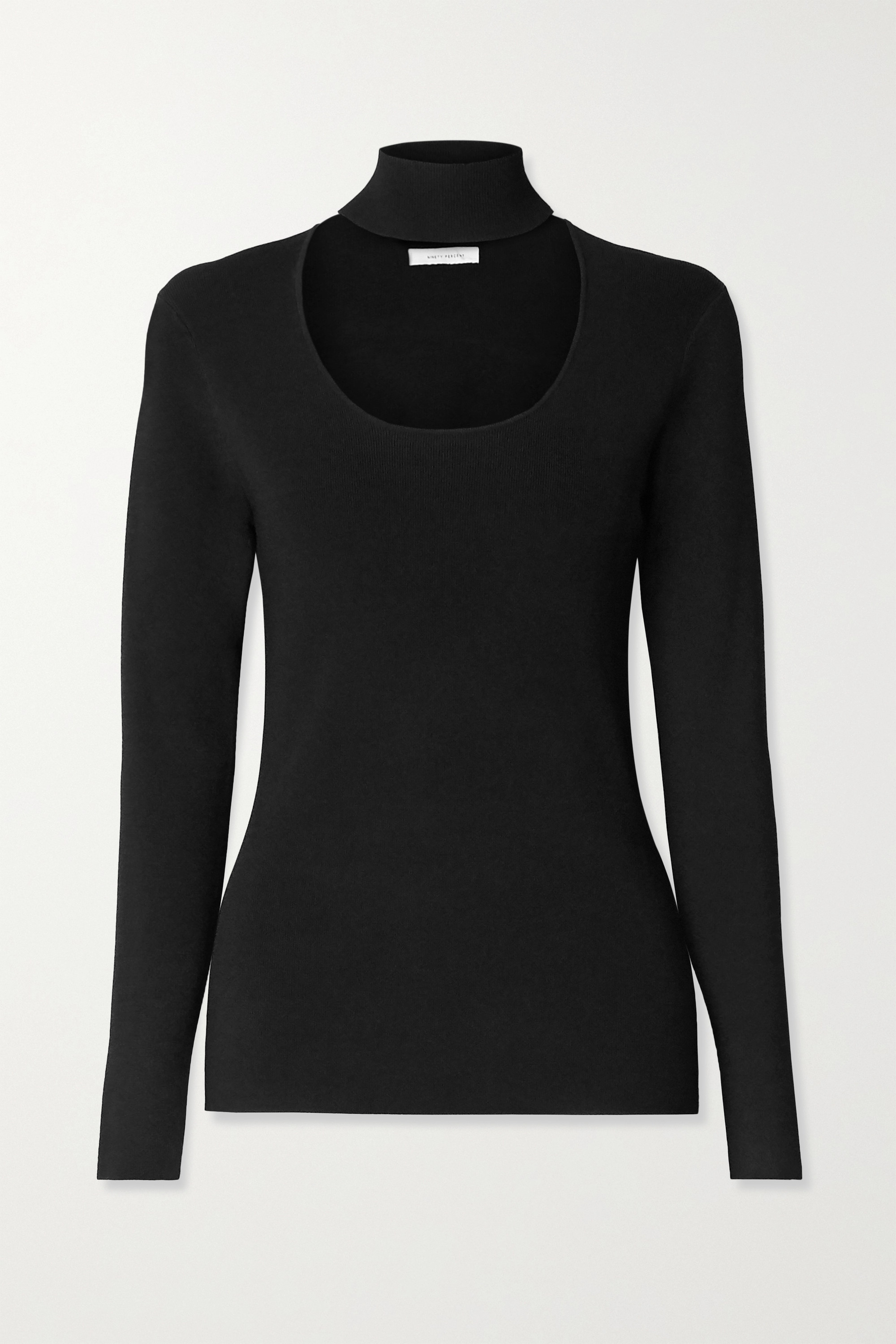 Ninety Percent Cutout stretch-knit turtleneck sweater