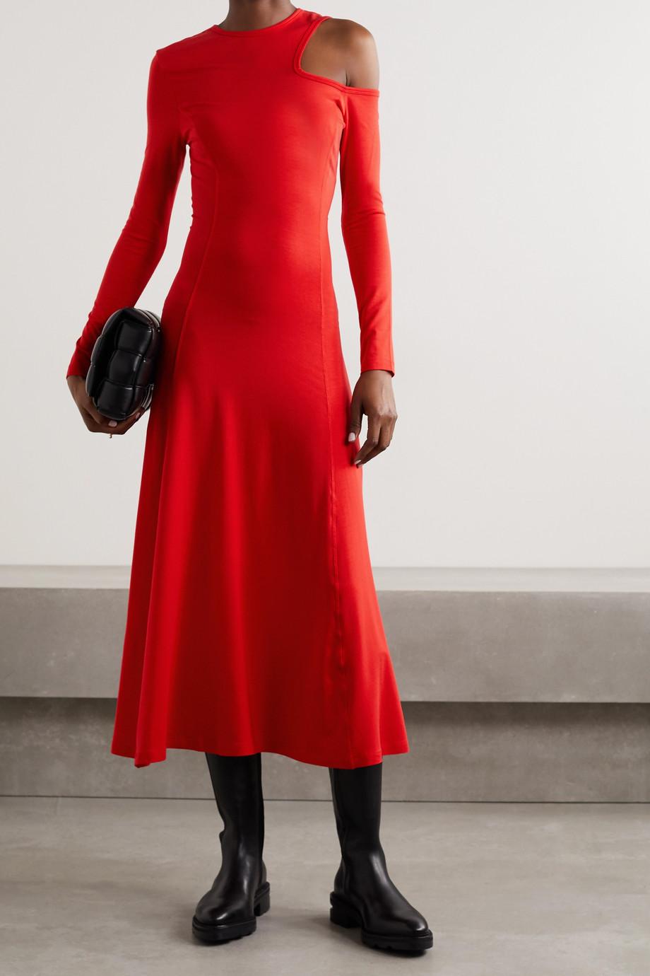 Ninety Percent 挖剪弹力天丝平纹布中长连衣裙