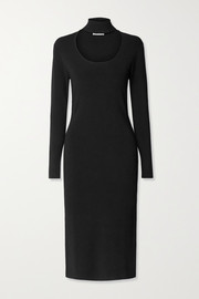 Ninety Percent Cutout stretch-knit turtleneck midi dress