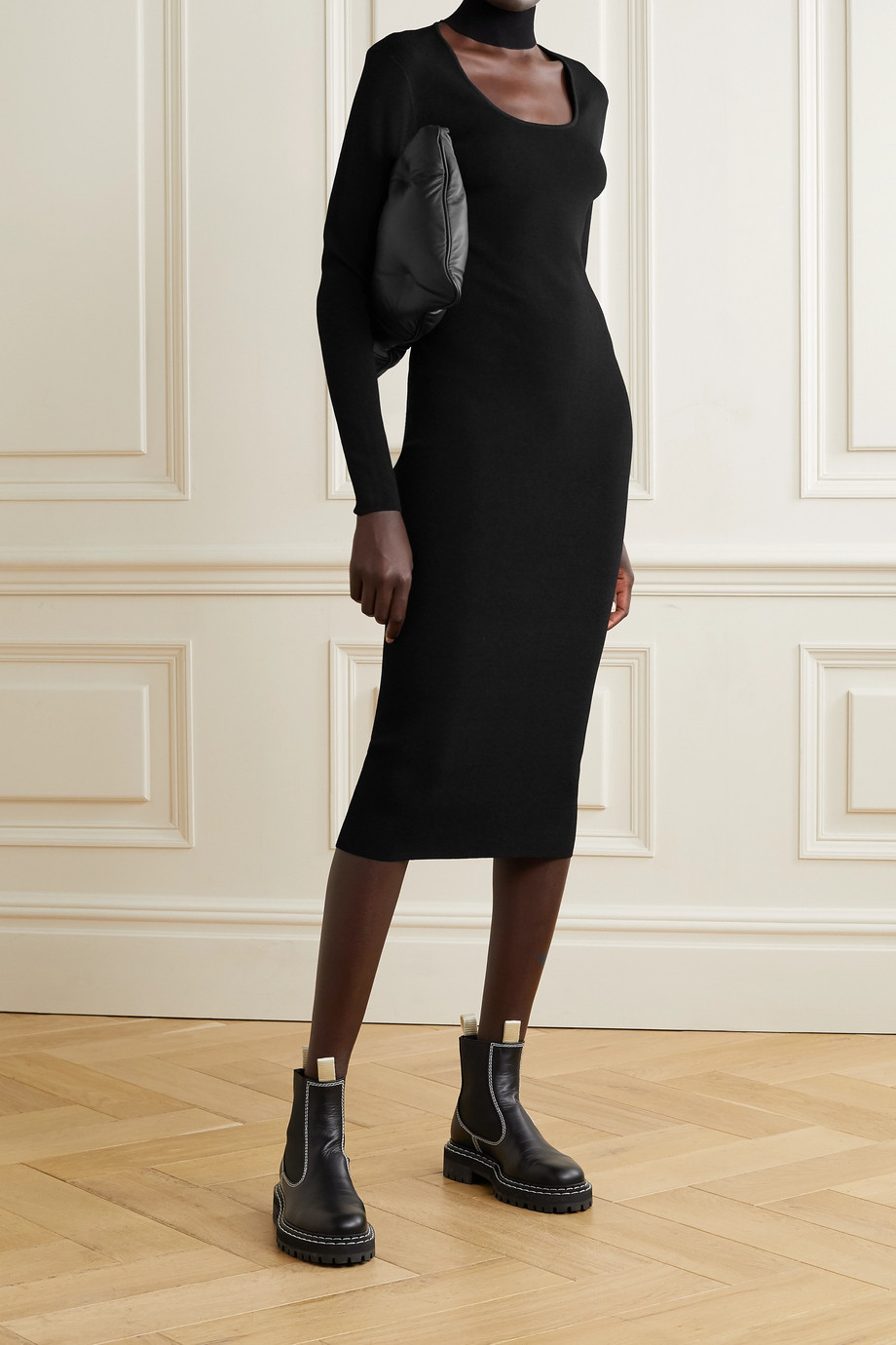 Ninety Percent + NET SUSTAIN cutout stretch-knit turtleneck midi dress