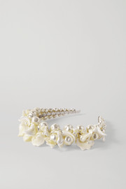 Simone Rocha Daisy silver-tone, mother-of-pearl and faux pearl headband