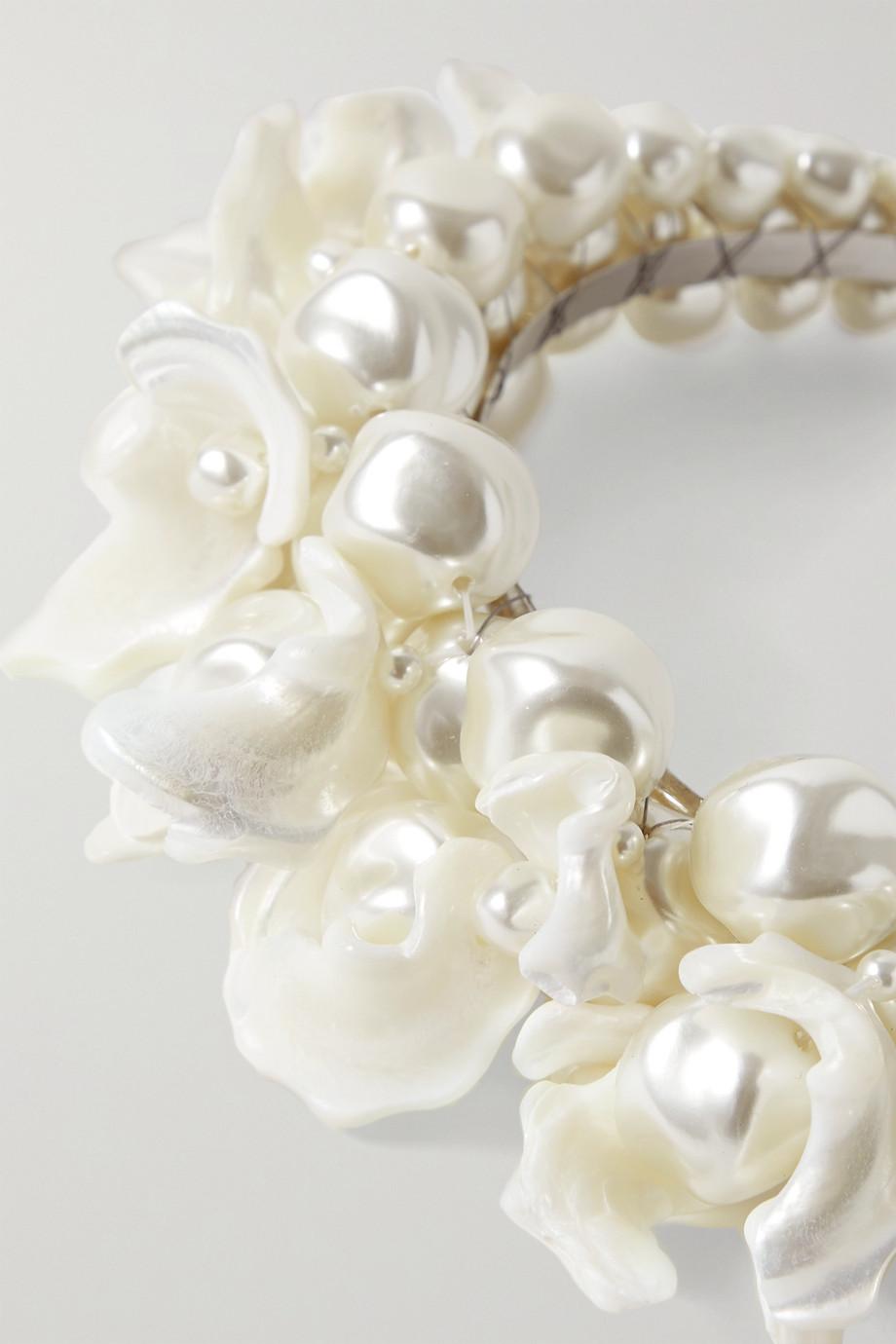 Simone Rocha Daisy silver-tone, mother-of-pearl and faux pearl headband