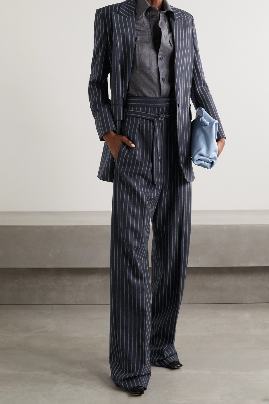 Max Mara Blazer en laine et cachemire mélangés à fines rayures Leccio