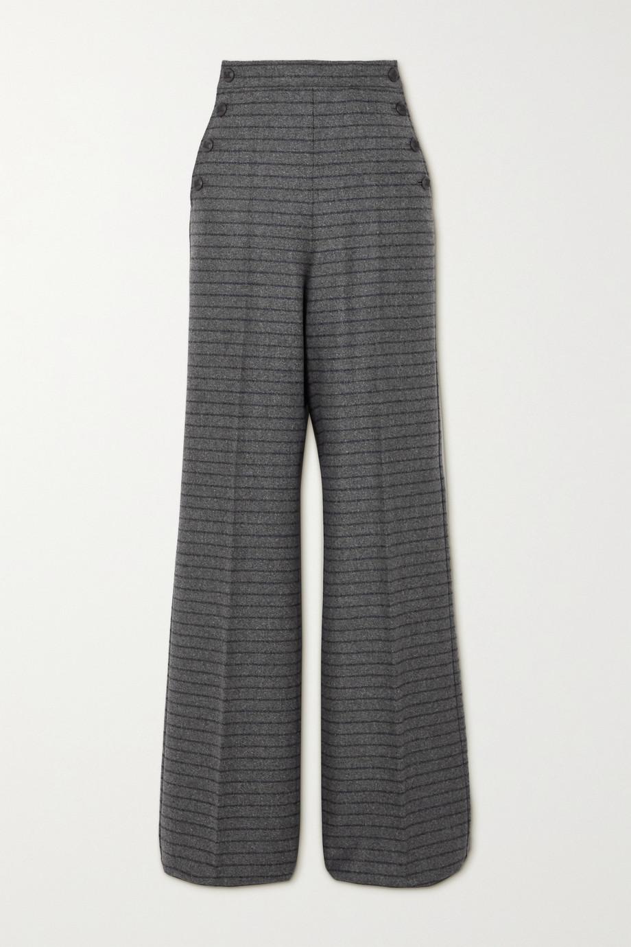 Max Mara Pantalon large en laine et cachemire mélangés à rayures Arancio