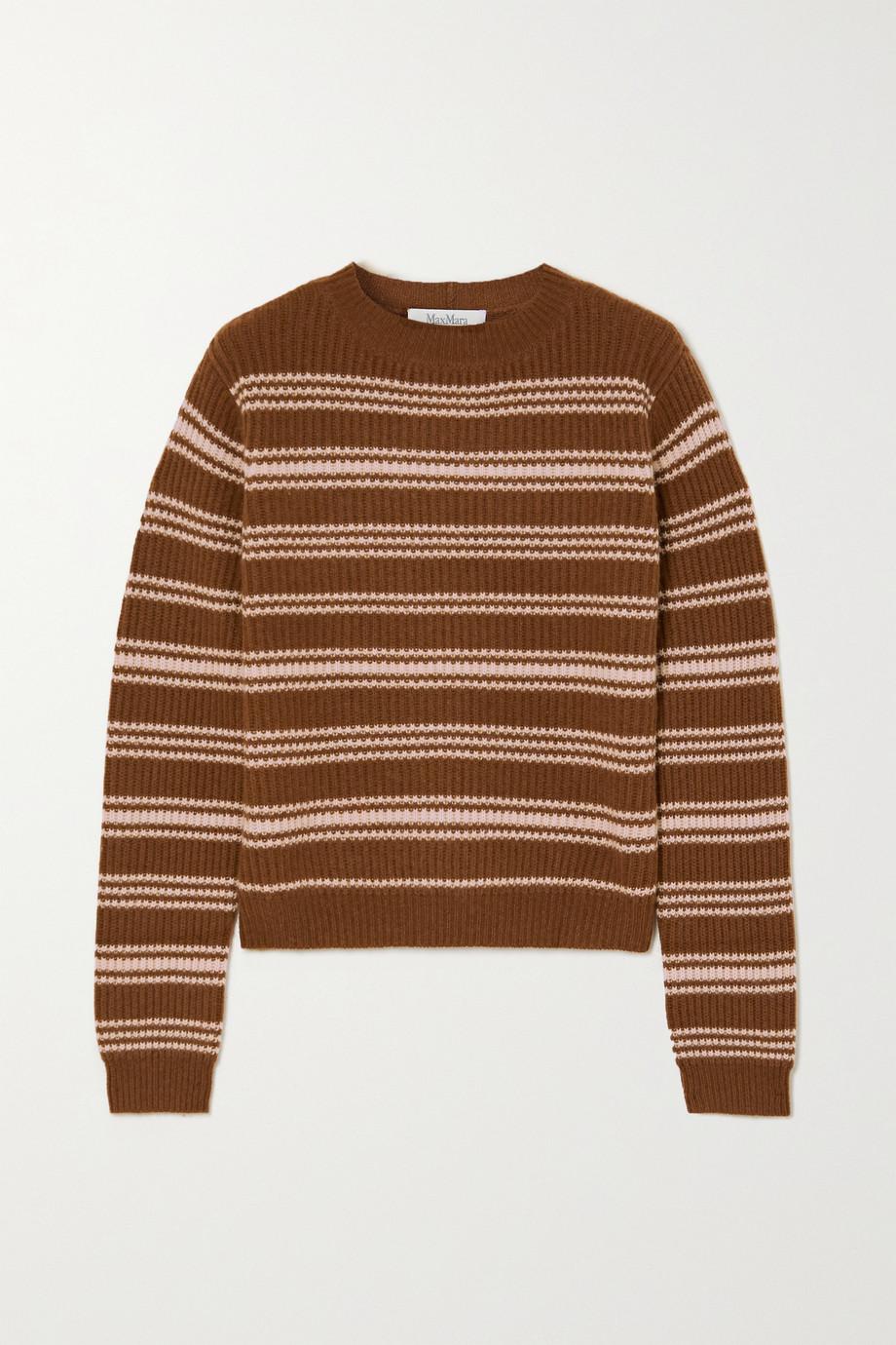 Max Mara Teano gestreifter Pullover aus einer gerippten Woll-Kaschmirmischung