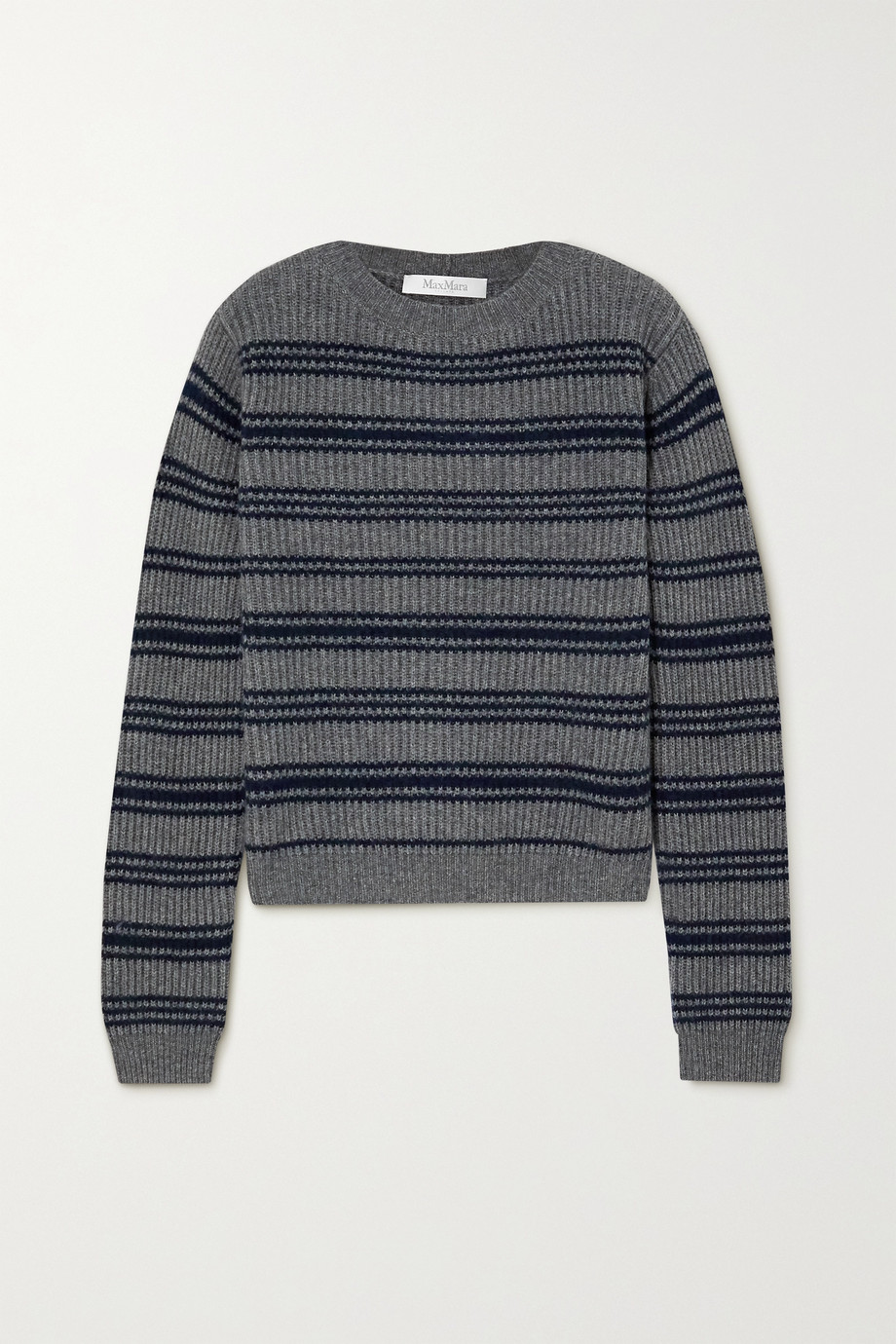 Max Mara Teano striped ribbed wool and cashmere-blend sweater
