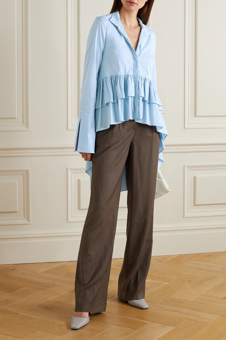 Caroline Constas Tatiana asymmetric ruffled cotton-blend shirt