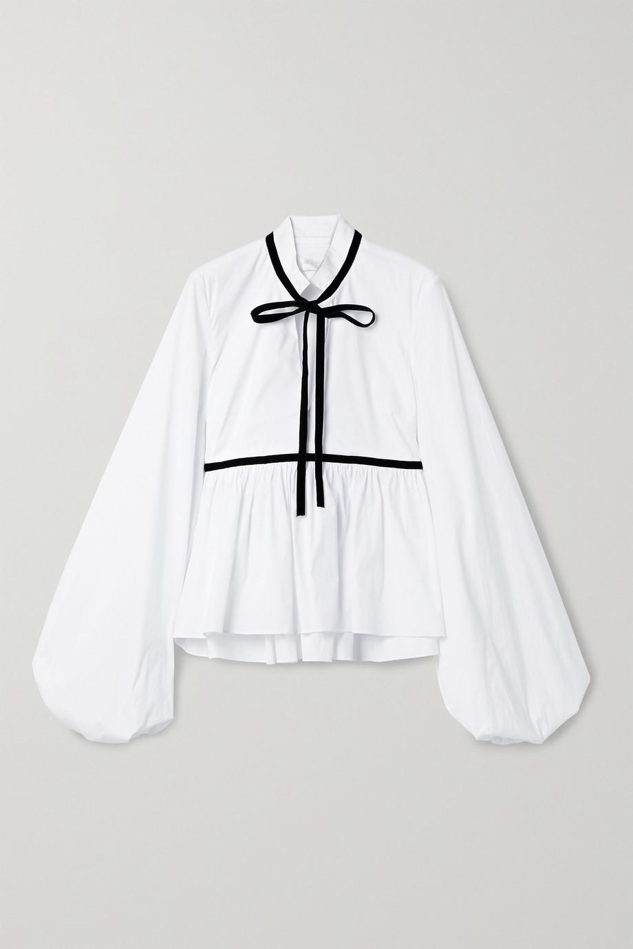 Caroline Constas Lynn velvet-trimmed cotton-blend poplin blouse