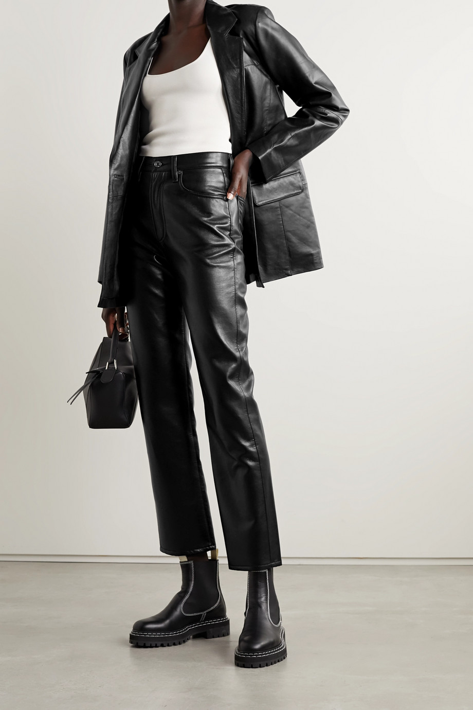 AGOLDE Leather-blend straight-leg pants