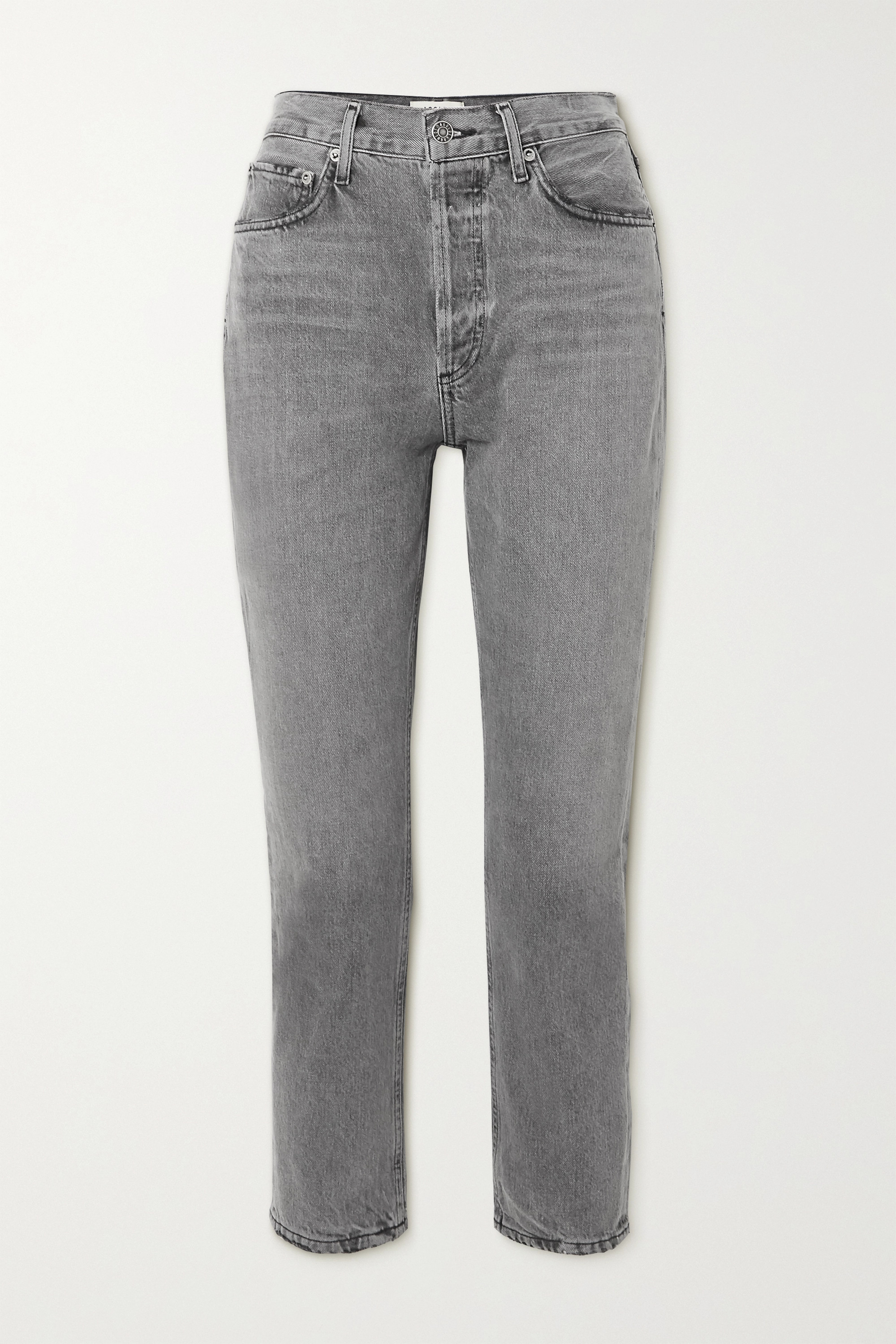 Agolde Riley High-rise Straight-leg Jeans In Gray
