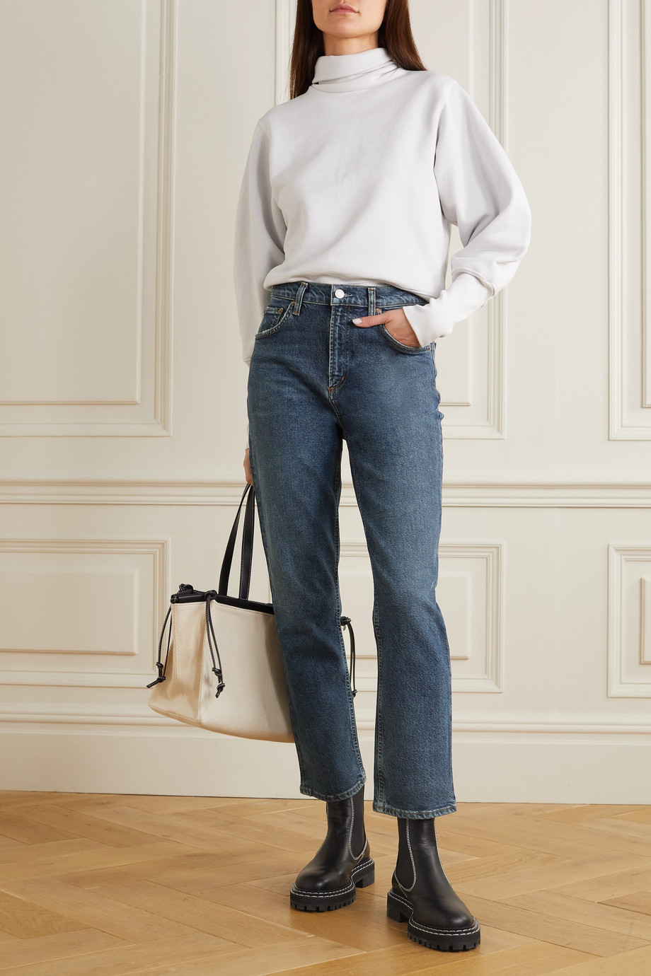 AGOLDE Wilder halbhohe Jeans mit geradem Bein