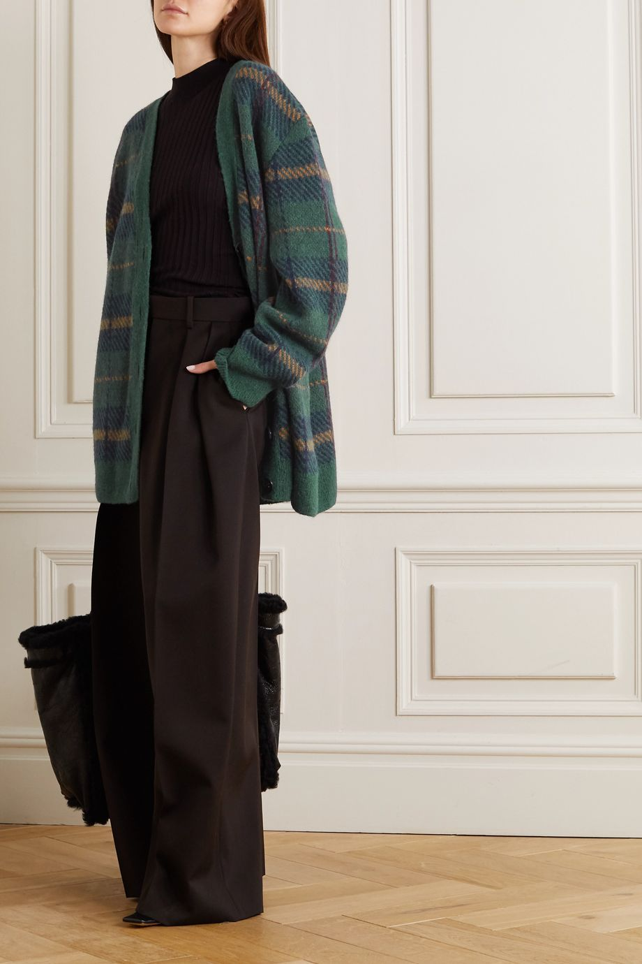 Dries Van Noten Oversized checked alpaca-blend cardigan