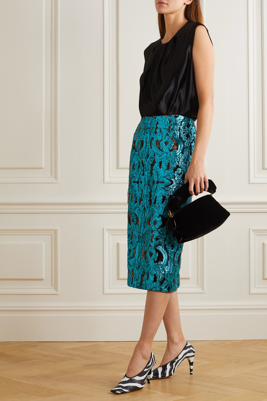 Dries Van Noten Sequined velvet midi skirt