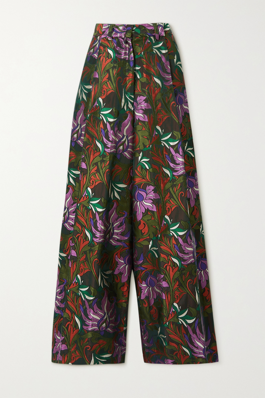 Dries Van Noten Hose mit weitem Bein aus Jacquard mit Blumenmuster