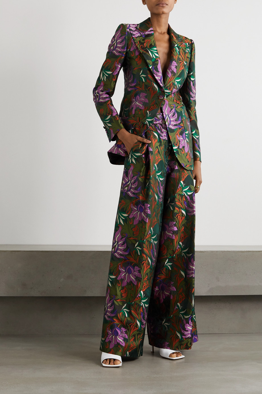 Dries Van Noten Floral-jacquard wide-leg pants