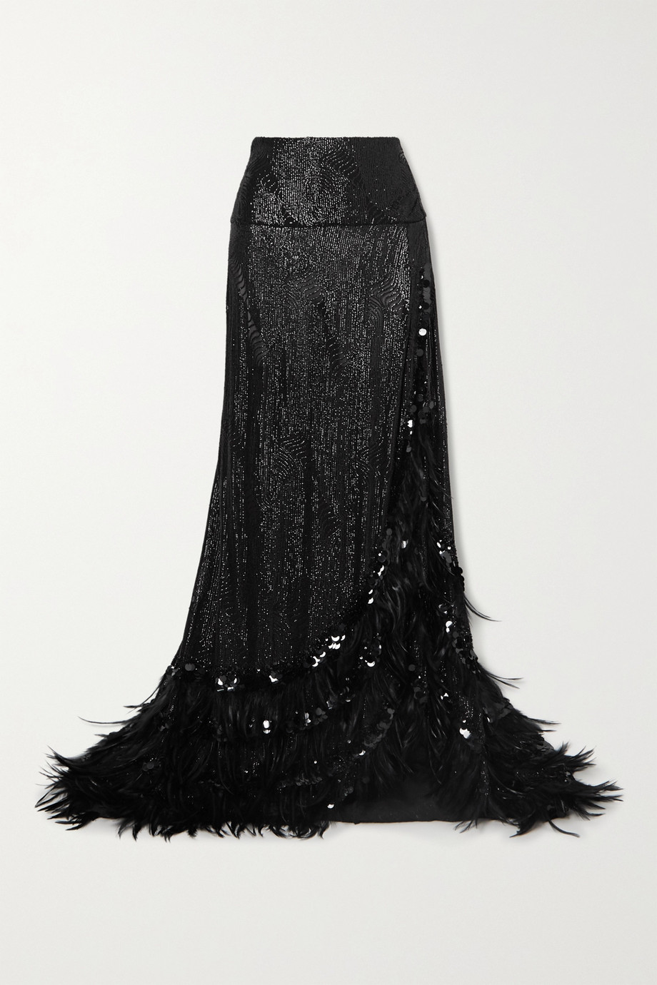 Dries Van Noten Feather-trimmed sequined crepe maxi skirt