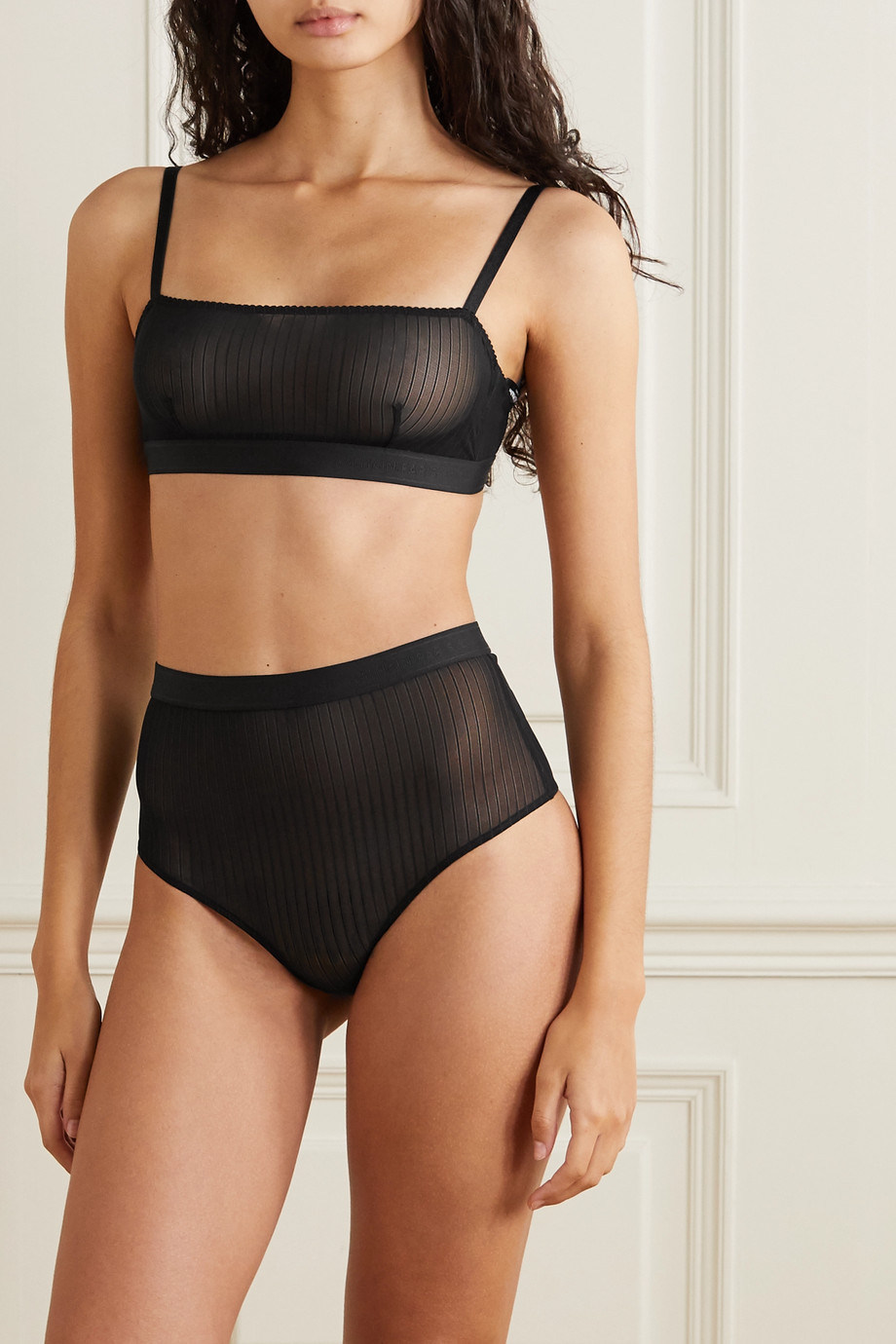 Balmain Striped stretch-tulle briefs