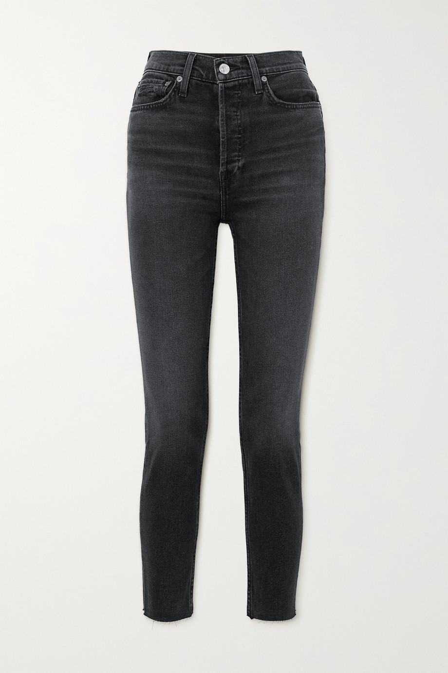 RE/DONE + NET SUSTAIN 90s cropped frayed high-rise skinny jeans