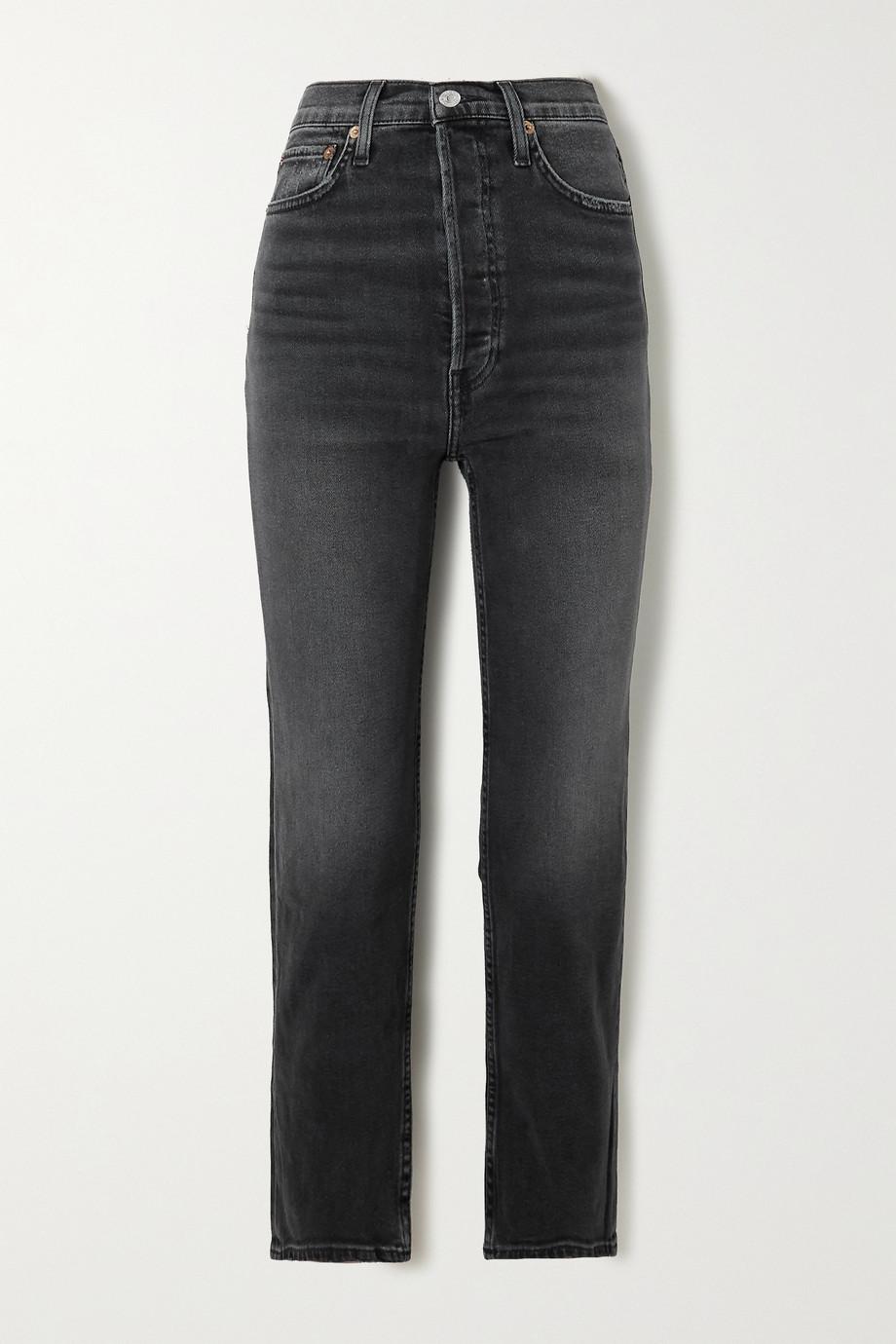 RE/DONE 70s Stove Pipe verkürzte, hoch sitzende Jeans mit geradem Bein