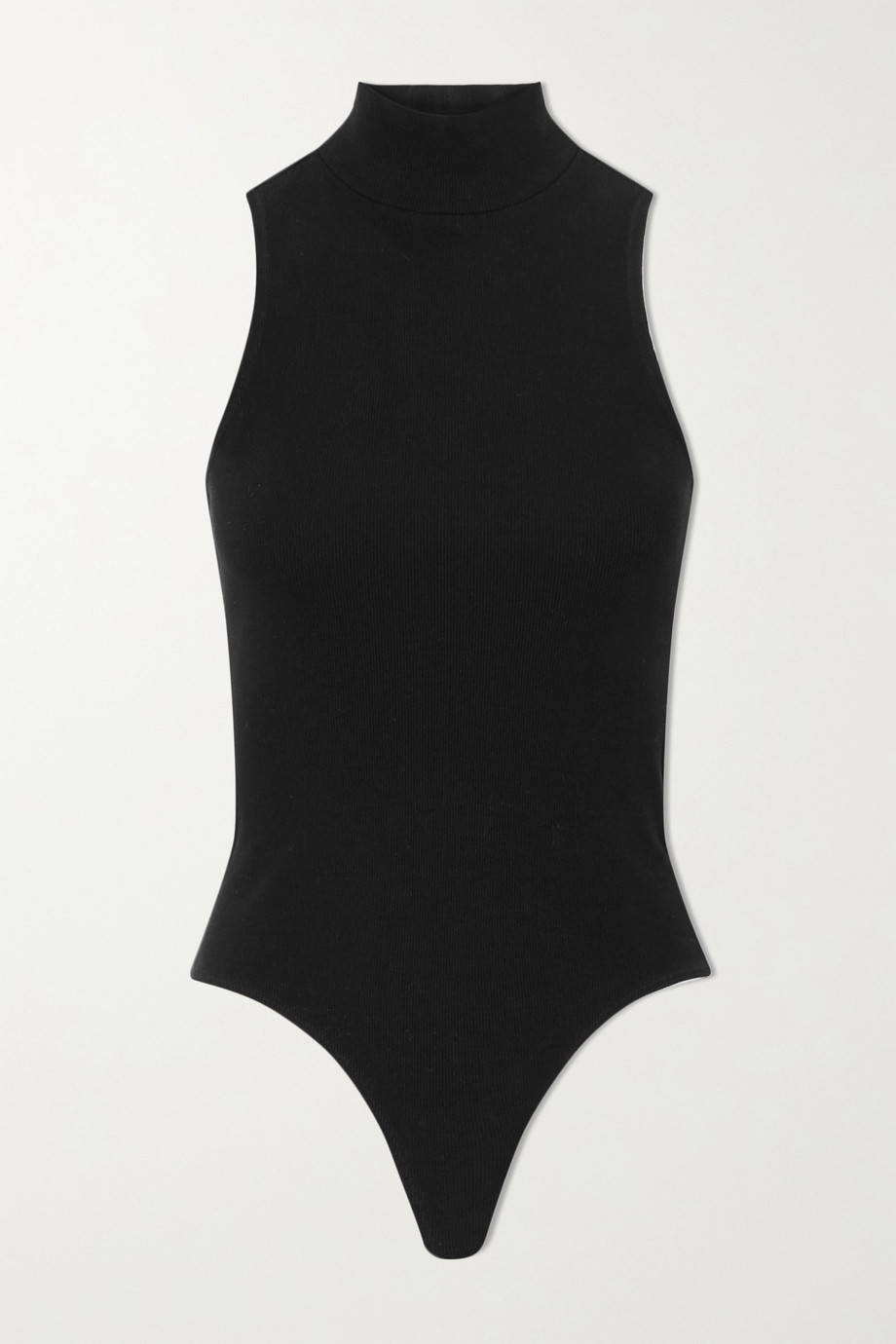 RE/DONE 60s ribbed stretch-cotton jersey turtleneck thong bodysuit