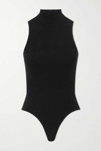 RE/DONE - 60s 罗纹弹力棉质平纹布高领连体丁字裤式紧身衣 - 黑色 - x small