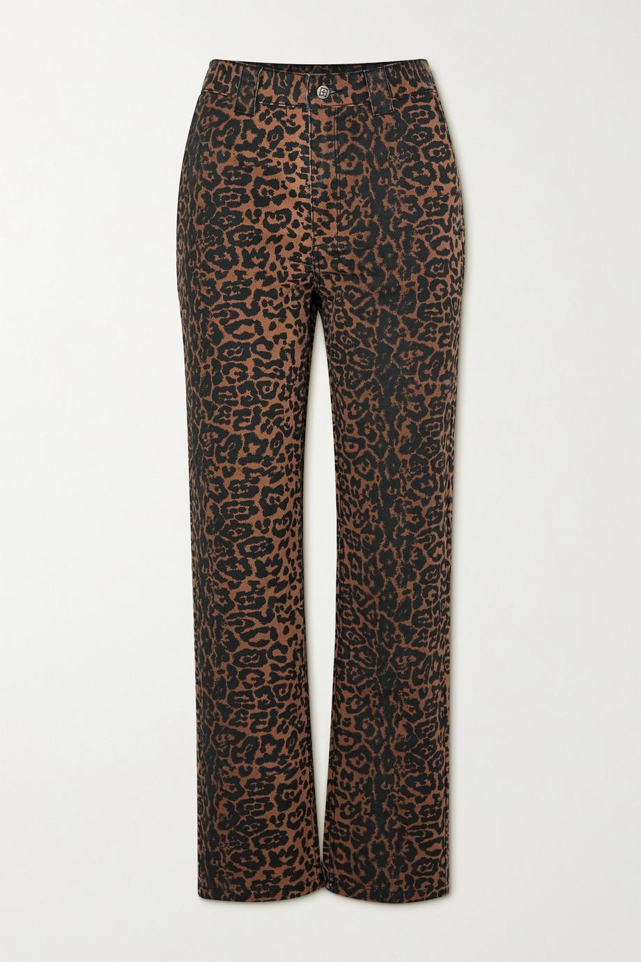 Ksubi Dynamo hoch sitzende Jeans mit geradem Bein und Leopardenprint