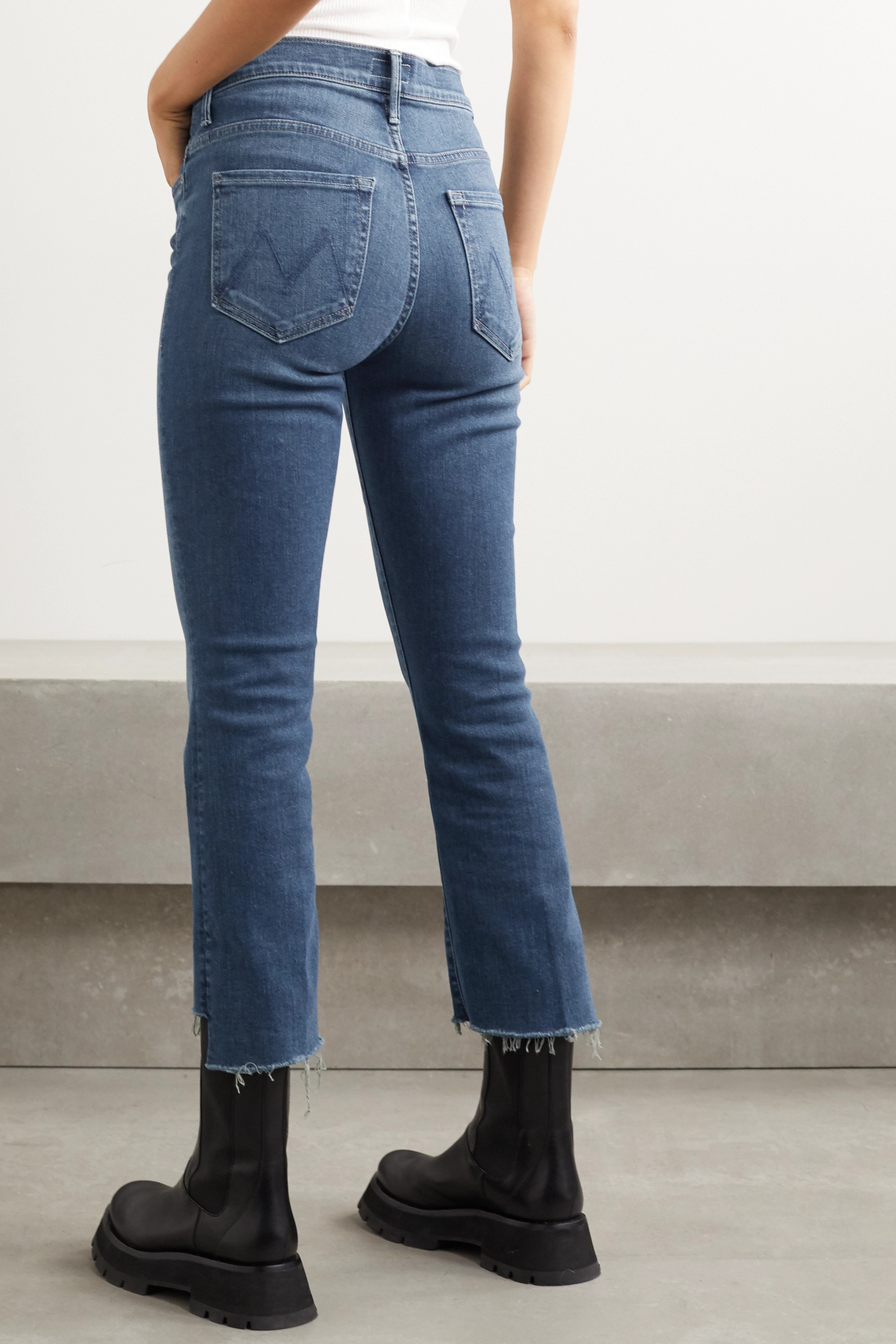 Mother The Insider Crop distressed high-rise flared jeans