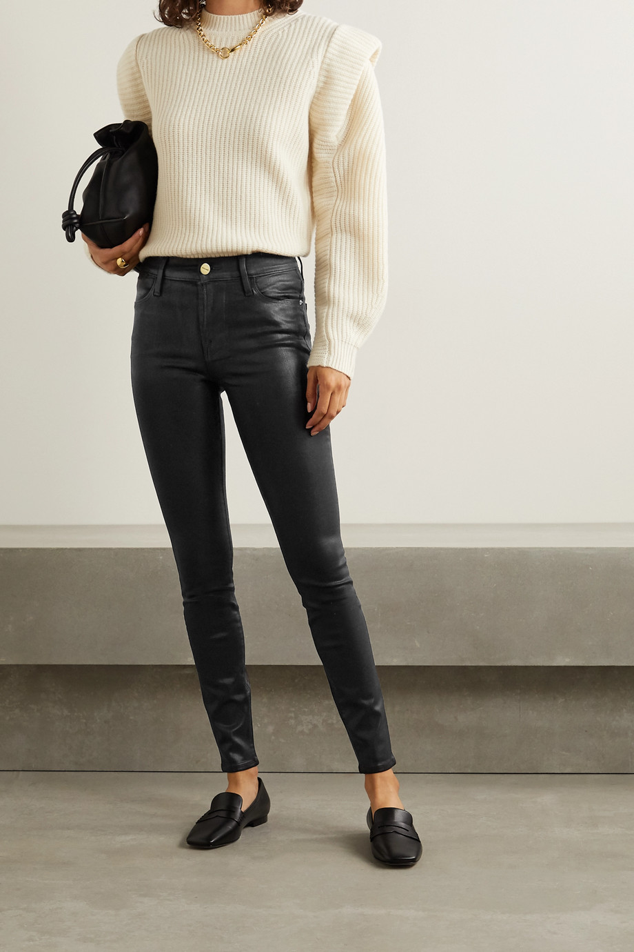 FRAME Le High coated skinny jeans