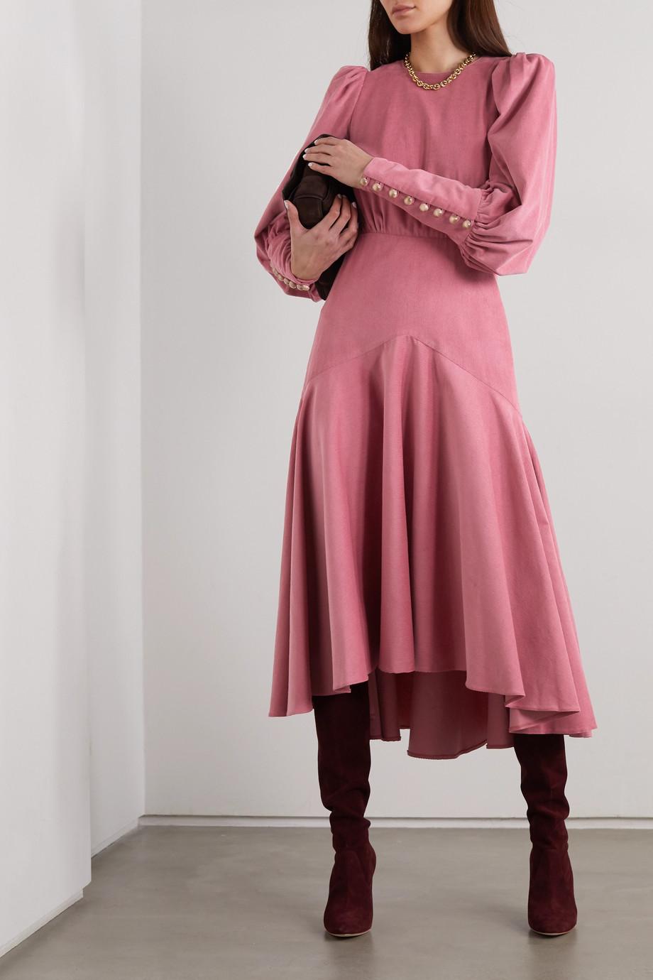 Anna Mason Eliza gathered silk-corduroy midi dress