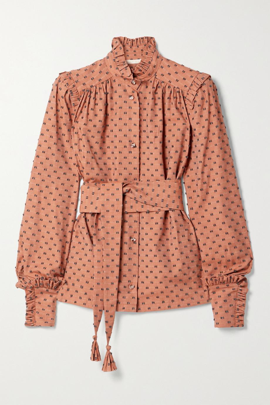 Anna Mason Deneuve 配腰带褶饰刺绣提花棉质混纺斜纹布女衫