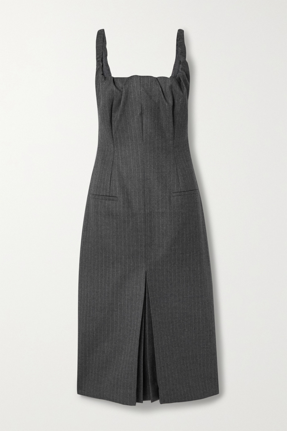 Commission Ruched pinstriped wool-blend midi dress