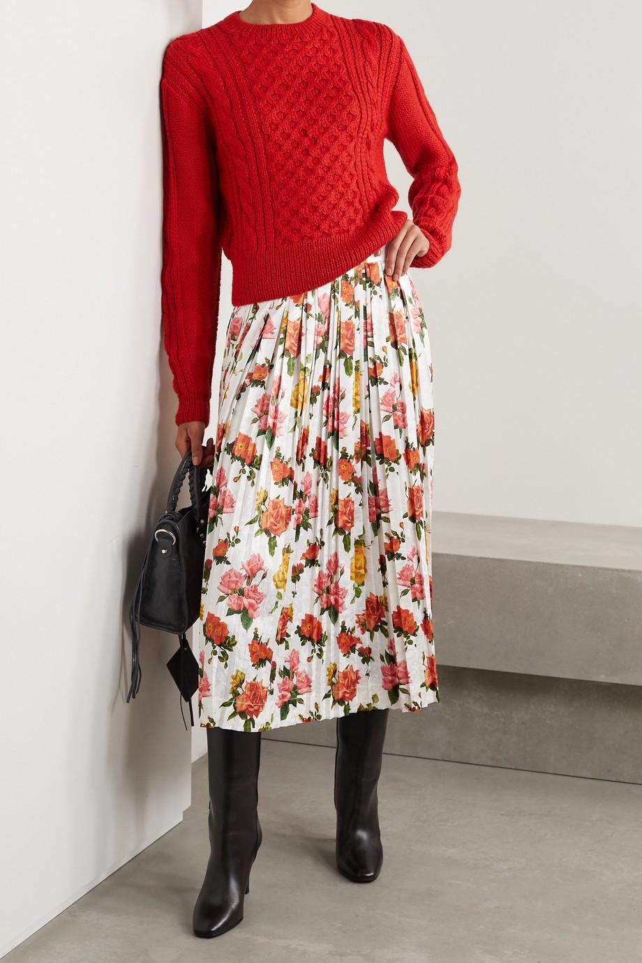 Commission Fanny pleated floral-print satin-jacquard midi skirt