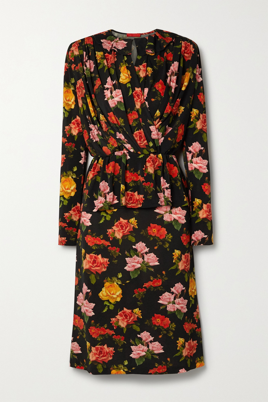 Commission Draped floral-print stretch-jersey midi dress