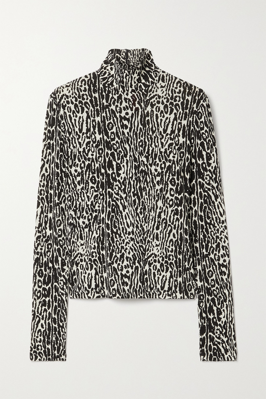 Commission Leopard-print stretch-jersey turtleneck top