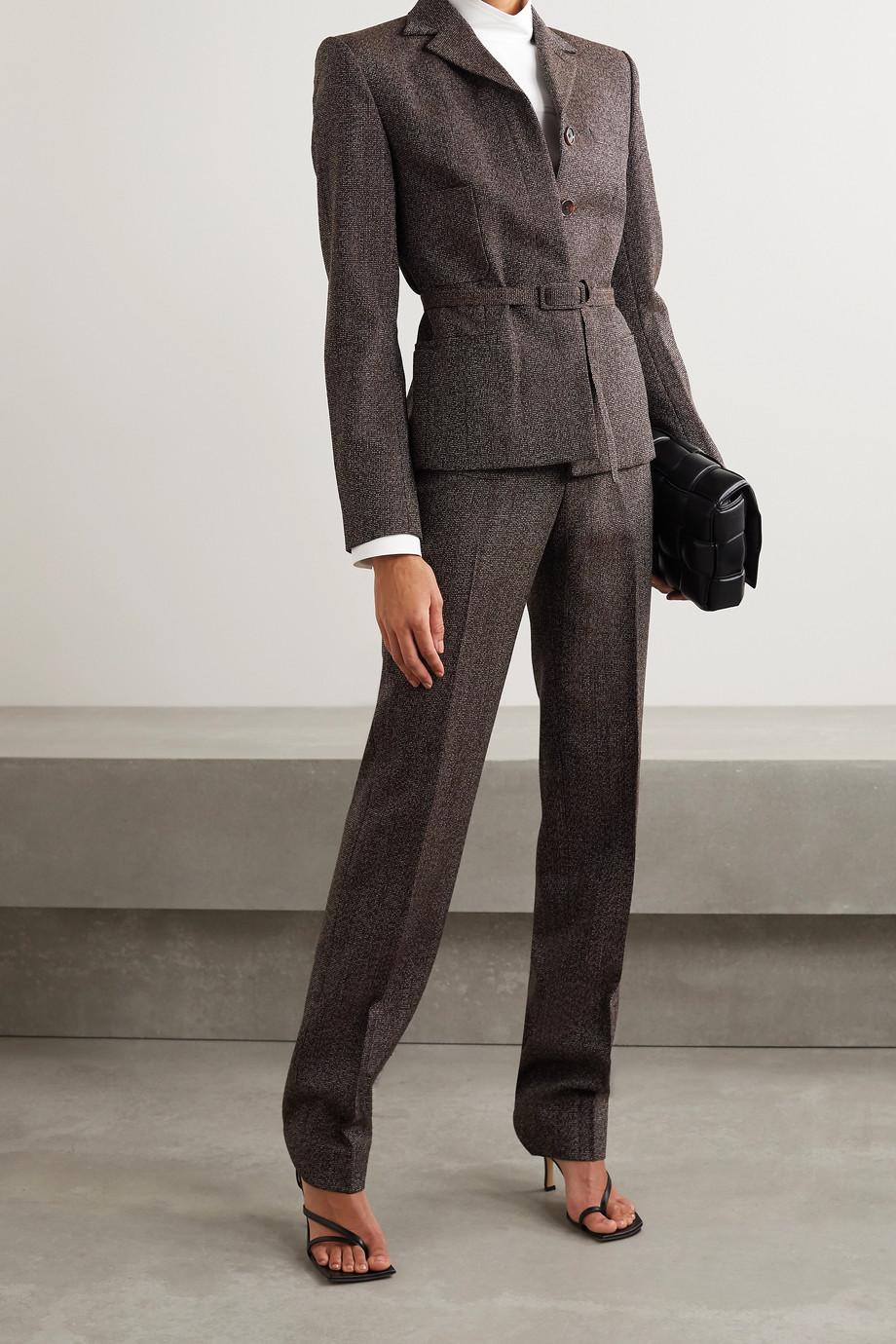 Commission Belted wool-tweed blazer