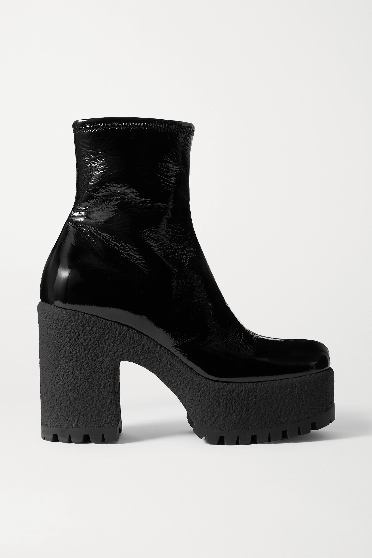 Miu Miu Crinkled glossed-leather platform ankle boots