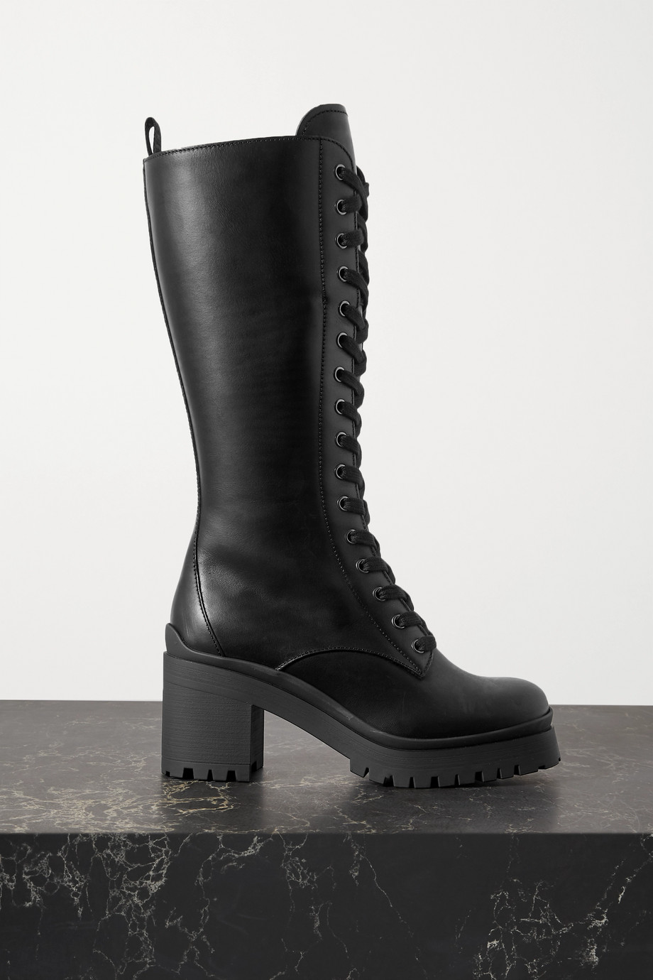 Miu Miu Lace-up leather knee boots