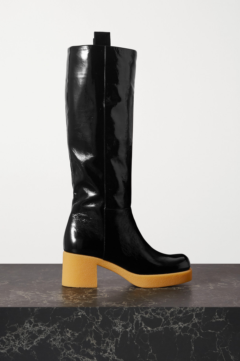 Miu Miu Crinkled patent-leather platform knee boots