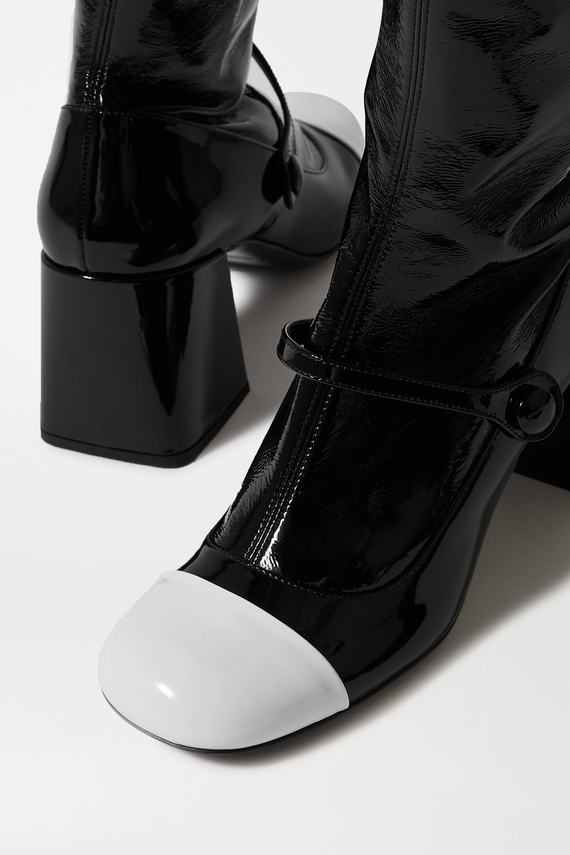 Miu Miu Zweifarbige kniehohe Stiefel aus Lackleder