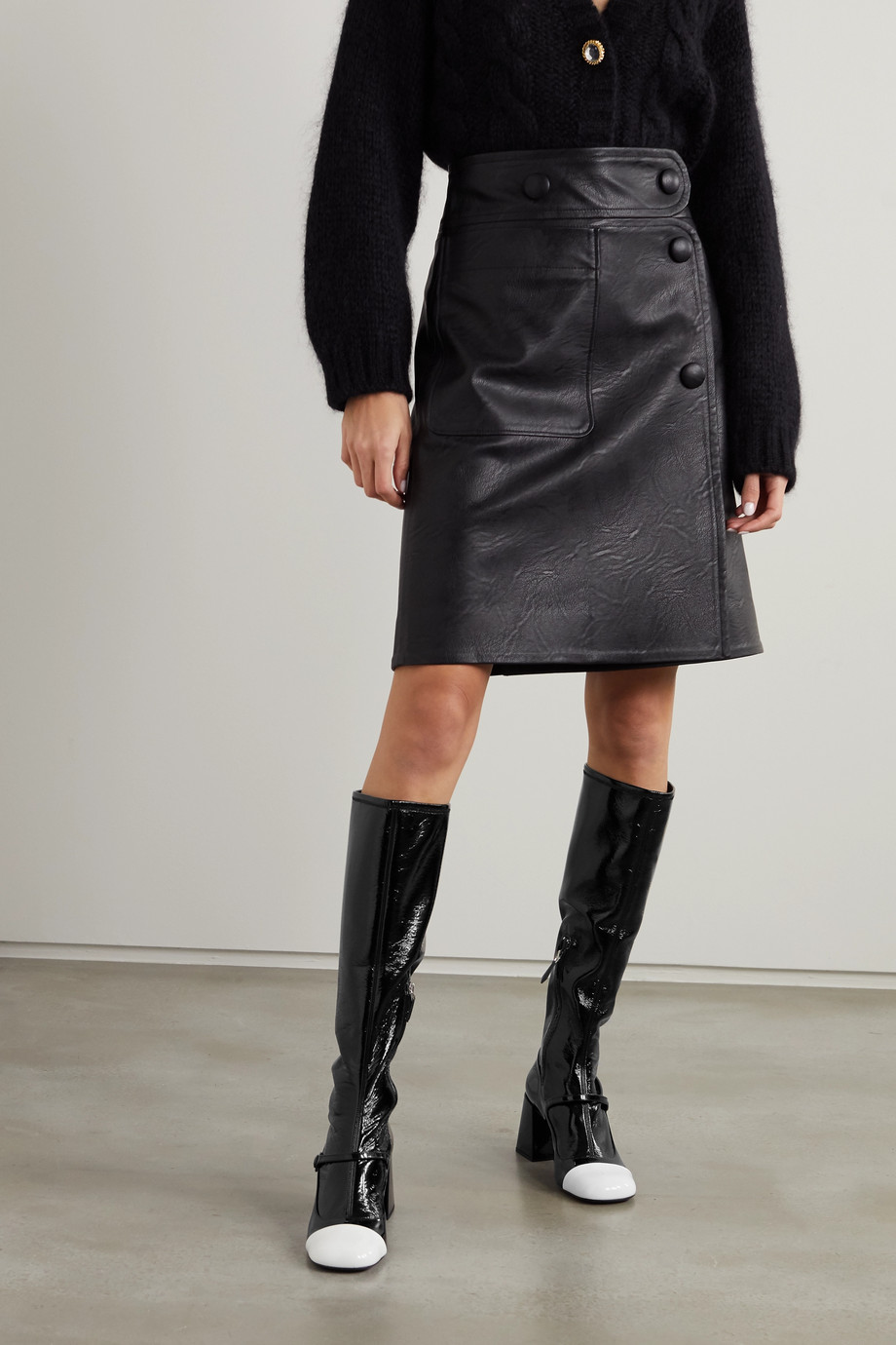 Miu Miu Two-tone patent-leather knee boots