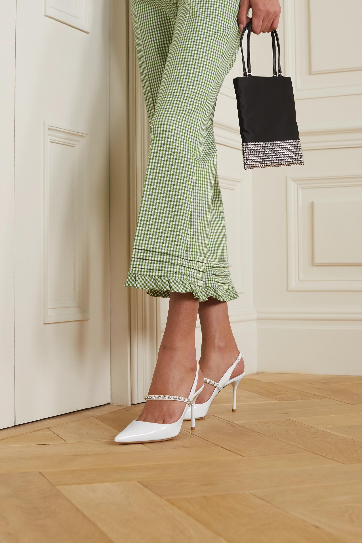 Miu Miu Crystal-embellished patent-leather slingback pumps