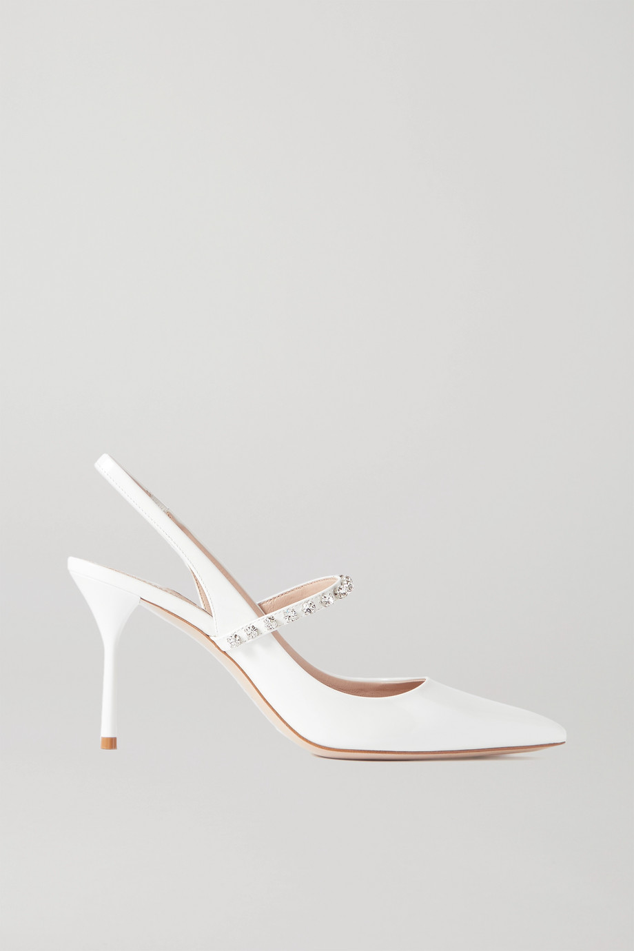 Miu Miu Crystal-embellished patent-leather slingback pumps