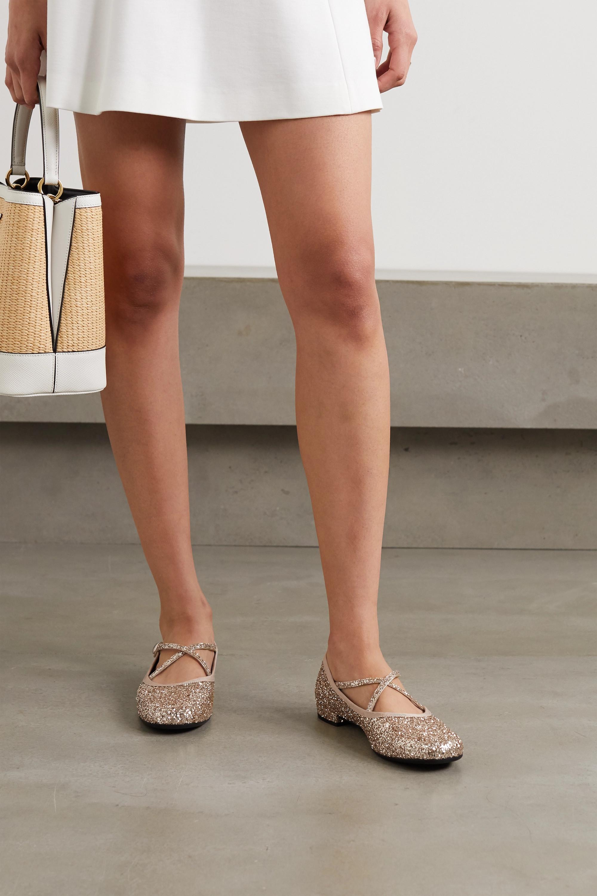 Miu Miu Glittered leather ballet flats