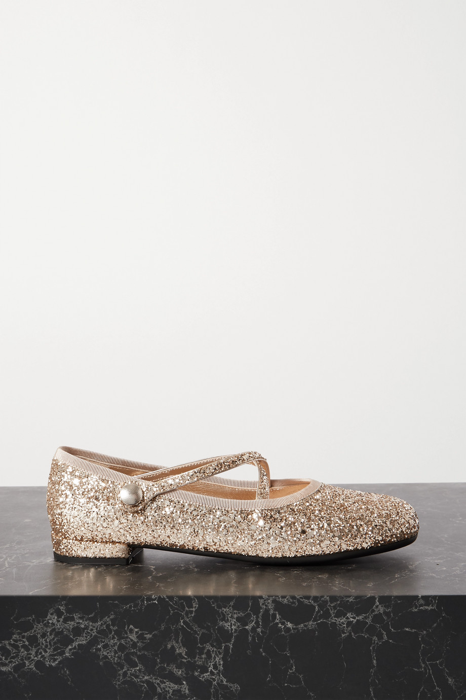 Miu Miu Glittered leather ballet flats