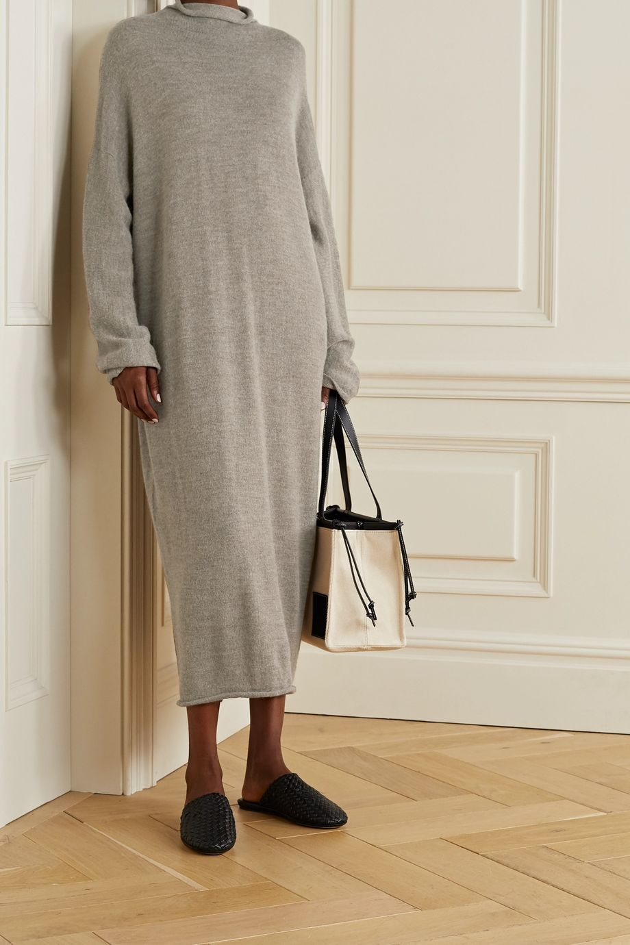 Lauren Manoogian Oversized alpaca and merino wool-blend turtleneck midi dress