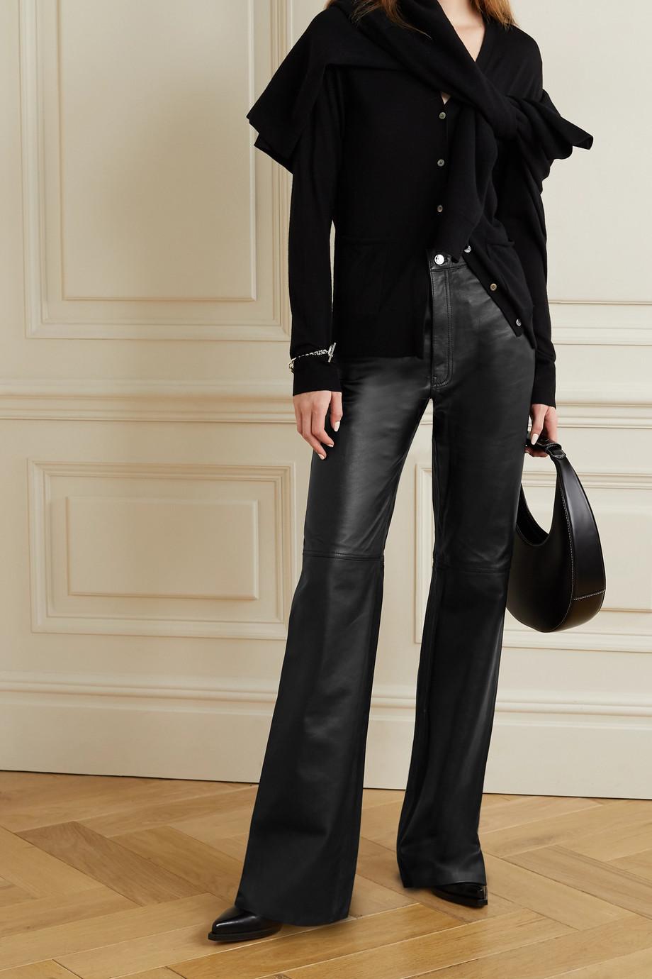 GRLFRND Mila leather wide-leg pants