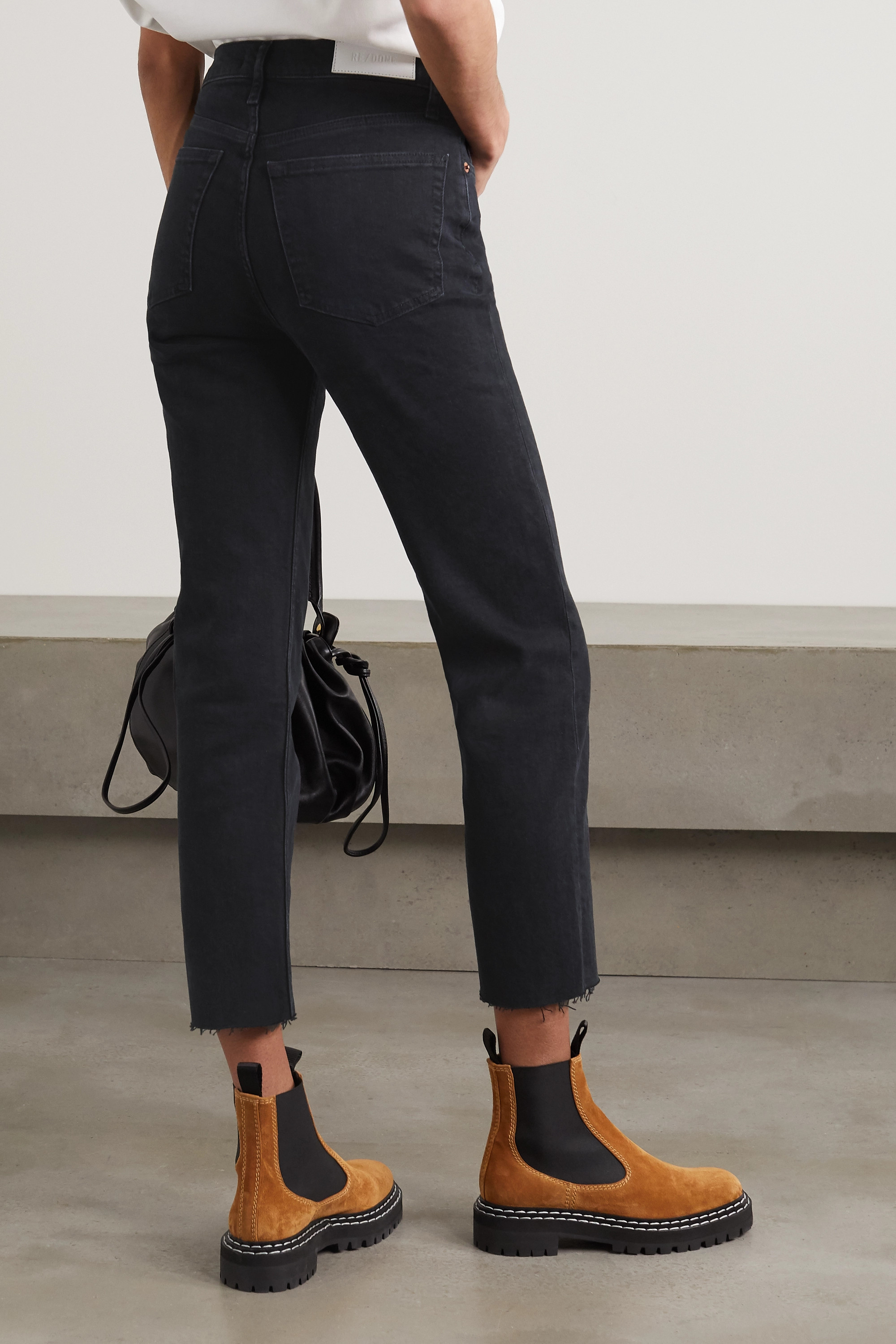 RE/DONE Stove Pipe cropped distressed high-rise straight-leg jeans