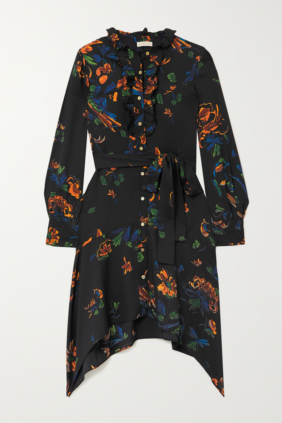 Tory Burch Cora belted ruffled floral-print crepe dress