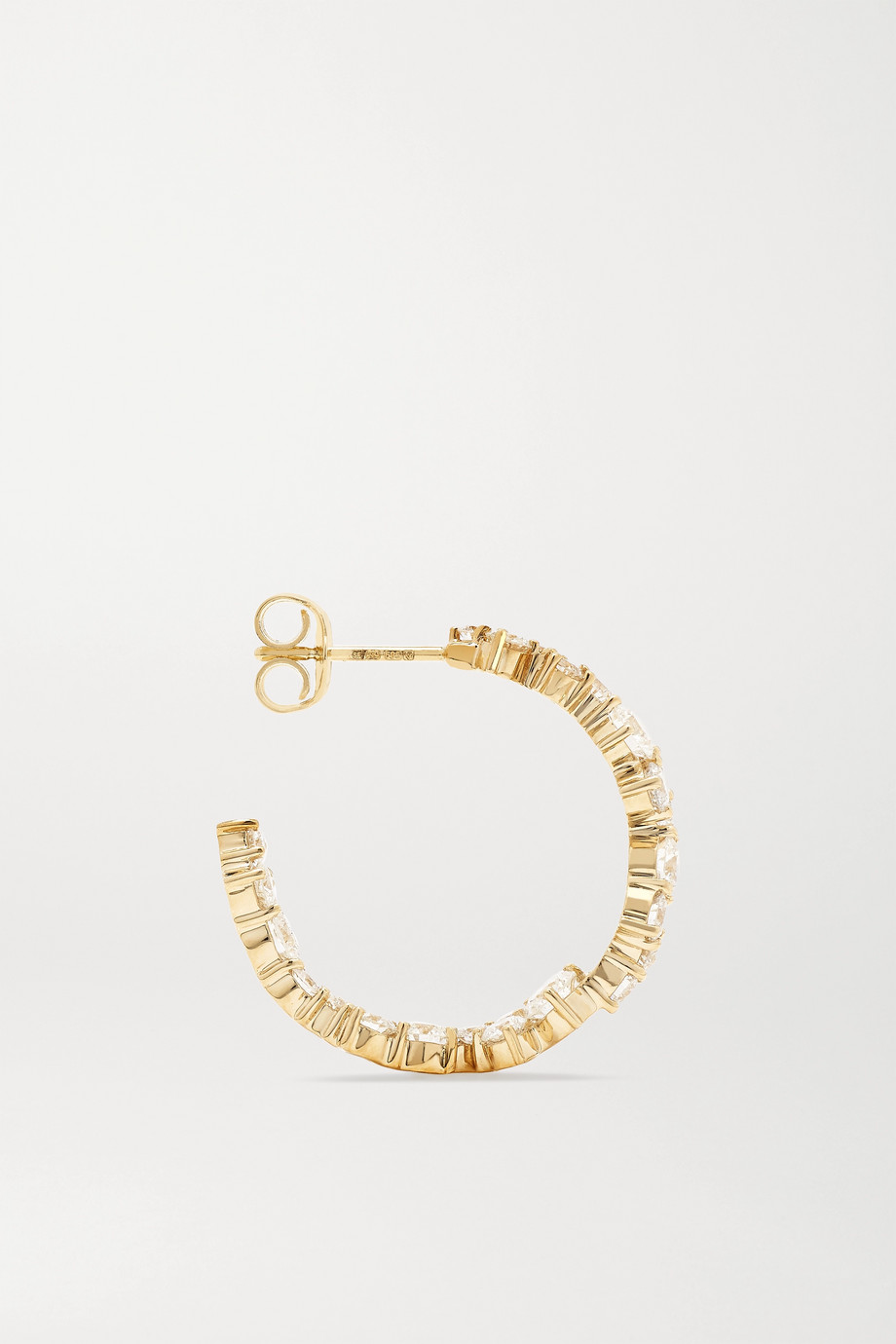 Sydney Evan Große Creolen aus 14 Karat Gold mit Diamanten